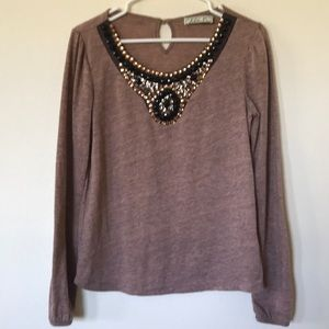 Brown Embellished Long-Sleeve by Chloe K